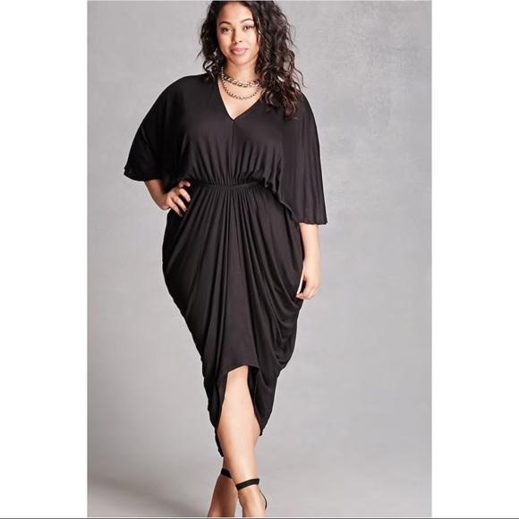 04eb6549cf1 Forever 21 Dresses   Skirts - Plus Size Draped Maxi Dress Black 2X